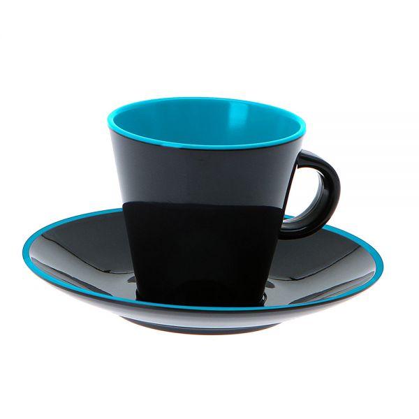 Gimex Espressoset 4-teilig Grey Line türkis/grau