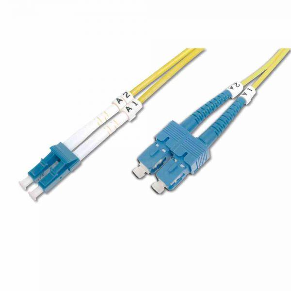 LC-SC Patchkabel, OS2 1m 09/125µ duplex gelb LS0H