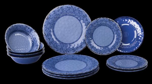 Gimex 12 Teiliges Geschirr Set Stone Line Sand-Azur-Opale Campinggeschirr mit Antislip Melamin (Azur