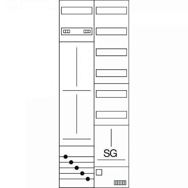 Komplettschrank 2stö IP44 2Z 1TSG 8V AP/UP 5p
