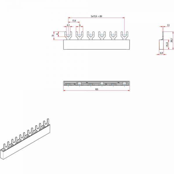 2 polige Eurovario Phasen schiene, 10mm²