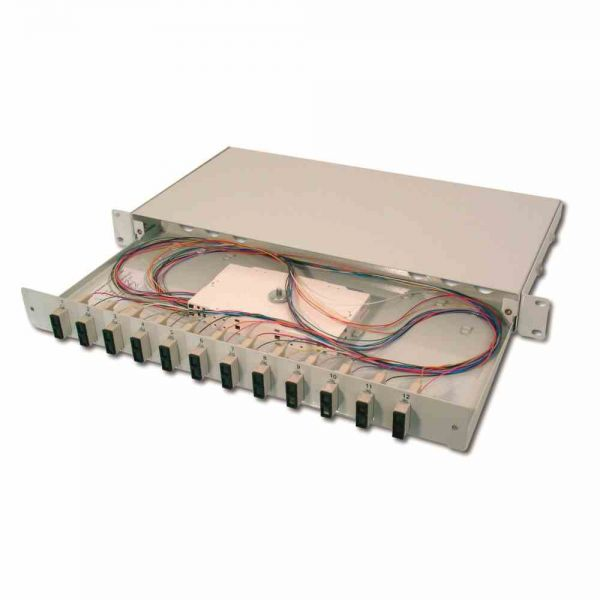 LWL Spleißbox 6xSC-D OM4 1HE, ausziehbar, bestückt
