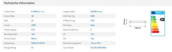 LED Röhre SKU 6265 22W T8A + warm white–LED Bulbs (Warm White, White, A +, EMC, LVD)