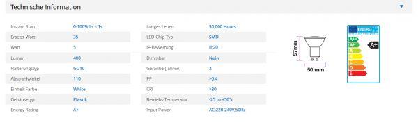 LED Leuchtmittel V-TAC 1685 5 W GU10 Led Strahler Spot Einbaulampe 220-240 V SMD LEDs 3000 Kelvin wa