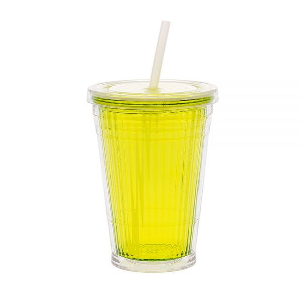 Gimex Campingartikel Trinkbecher 450ml mit Schraubdeckel Plus Strohhalm Lemon, 550/080