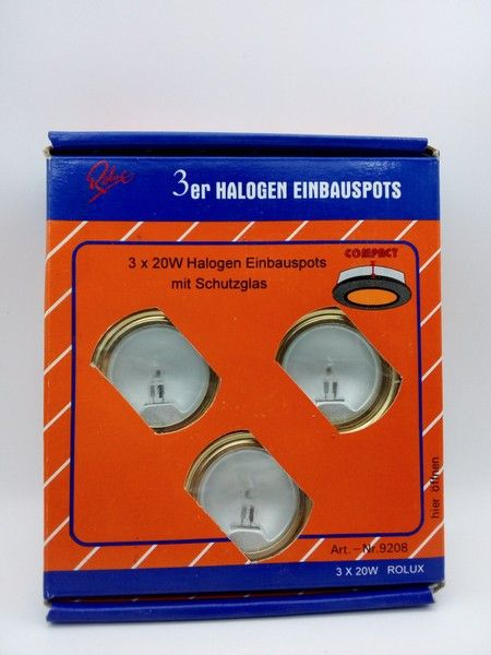 3er Set Rolux Halogen Einbauspots gold