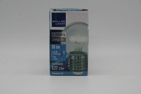 Müller Licht LED Tropfenlampe Deko E27 0,4 Watt 230 Volt 2400 Kelvin klar